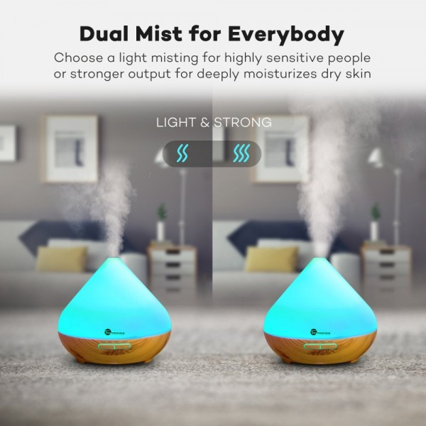 Difuzor aroma cu Ultrasunete TaoTronics TT-AD002, 300ml, 13W, LED 7 culori, oprire automata - Nuc natur 6