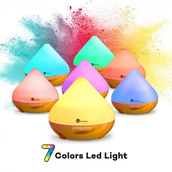Difuzor aroma cu Ultrasunete TaoTronics TT-AD002, 300ml, 13W, LED 7 culori, oprire automata - Nuc natur 1