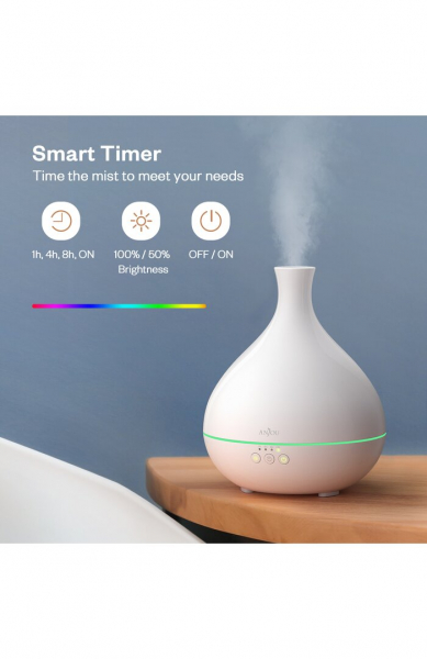 Difuzor aroma cu Ultrasunete Anjou AJ-AD012, 500ml, LED, oprire automata - Alb [1]