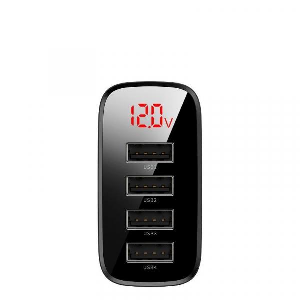 Incarcator USB Premium Baseus Mirror Lake Digital Display 4x Usb Travel Charger 30w 6a ,negru 2
