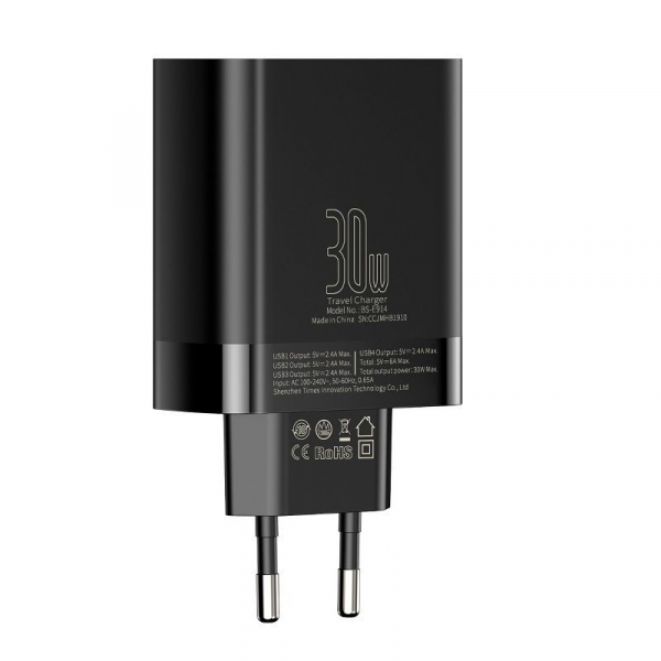 Incarcator USB Premium Baseus Mirror Lake Digital Display 4x Usb Travel Charger 30w 6a ,negru 4