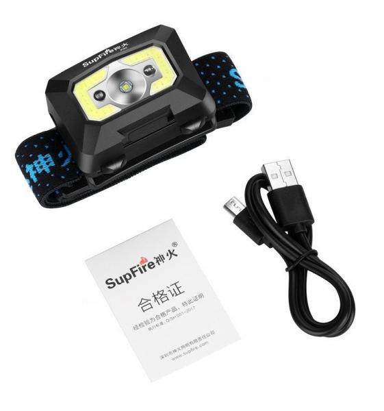 Lanterna LED pentru cap Supfire X30, USB, 500lm, 130m [2]