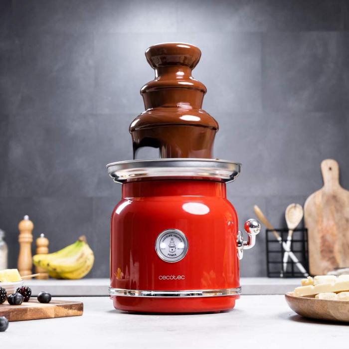 Fantana de ciocolata, Cecotec Fun Chocolicious, 90W, design retro,3 niveluri, Capacitate 700ml, Inox 0
