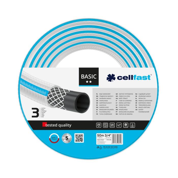 "Furtun pentru gradina Cellfast BASIC cu 3 straturi, 3/4"", Armat, 50m, protectie UV 0"