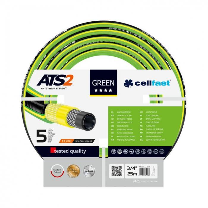 "Furtun pentru gradina Cellfast GREEN cu 5 straturi, 3/4"", Armat, 25m, protectie UV, antirasucire 0"