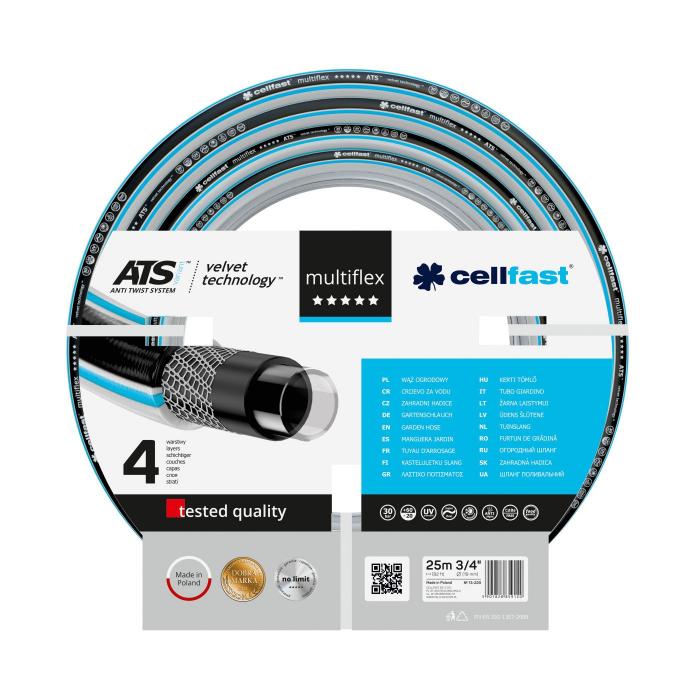 """Furtun pentru gradina Cellfast MULTIFLEX cu 4 straturi, 3/4"""", Armat, 25m, protectie UV, antirasucire 0"""