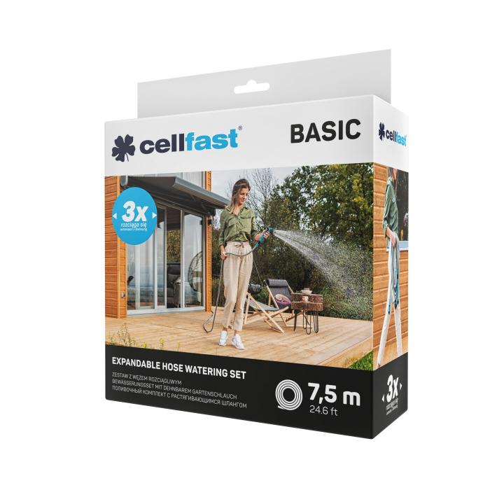 Set furtun pentru gradina extensibil Cellfast BASIC 7.5m, pistol, conectori [4]