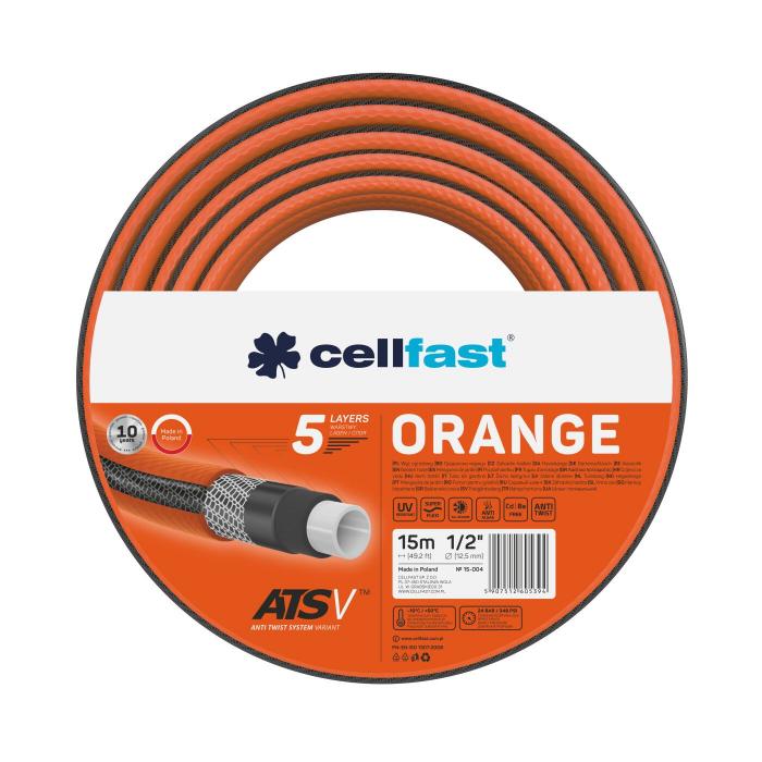 """Furtun pentru gradina Cellfast ORANGE cu 5 straturi, 1/2"""", Armat, 15m, protectie UV, antirasucire 0"""
