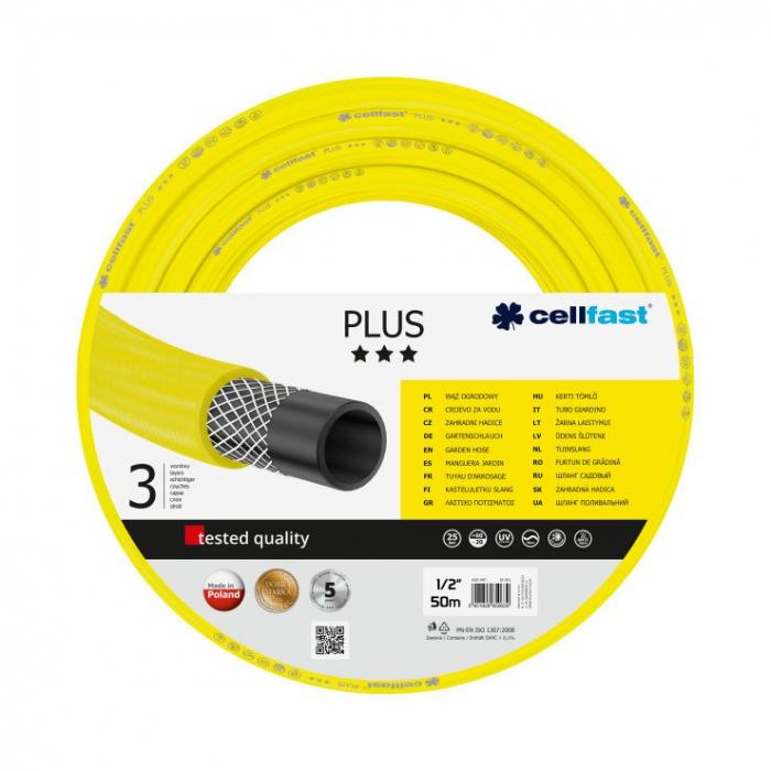 """Furtun pentru gradina Cellfast Plus cu 3 straturi, 1/2"""", Armat, 50m, protectie UV 0"""