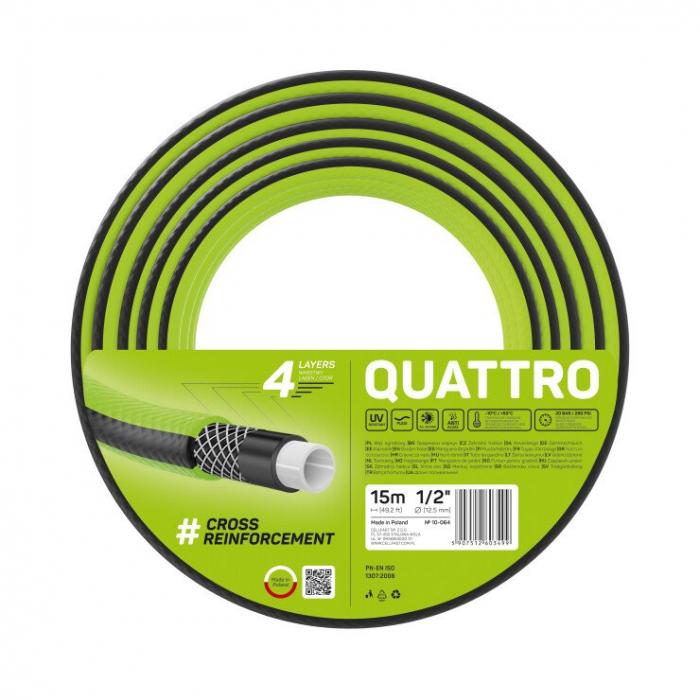"Furtun pentru gradina Cellfast QUATTRO cu 4 straturi, 1/2"",  Armat, 15m, protectie UV 0"