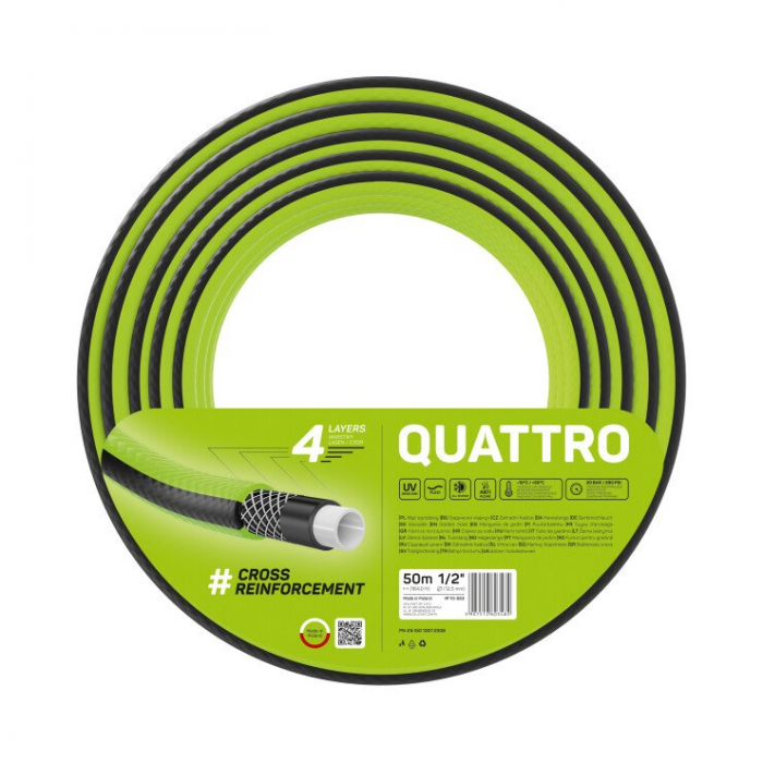 "Furtun pentru gradina Cellfast QUATTRO cu 4 straturi, 1/2"", Armat, 50m, protectie UV 0"