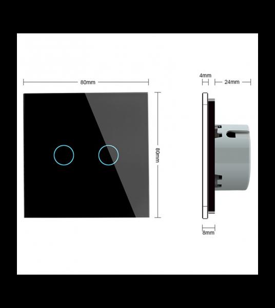 Intrerupator dublu cu touch Welaik panou din sticla, Negru 3