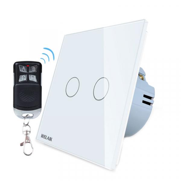 Intrerupator dublu cu touch Welaik, Wireless, Telecomanda inclusa, Alb 0