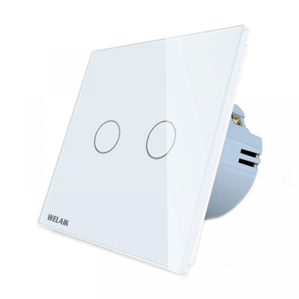 Intrerupator dublu cu touch Welaik, Wireless, Telecomanda inclusa, Alb 2