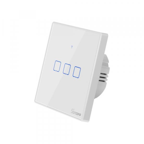 Intrerupator Smart  cu Touch WiFi + RF 433 Sonoff T2 EU TX, (3 canale) [1]