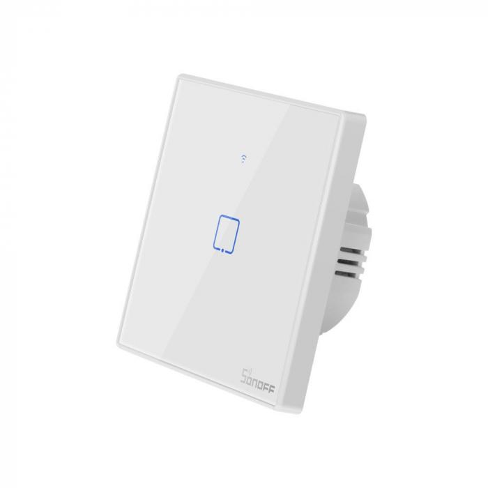 Intrerupator Smart  cu Touch WiFi + RF 433 Sonoff T2EU1C TX, (1 canal) [1]