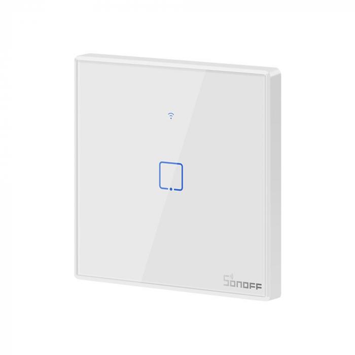 Intrerupator Smart  cu Touch WiFi + RF 433 Sonoff T2EU1C TX, (1 canal) [2]