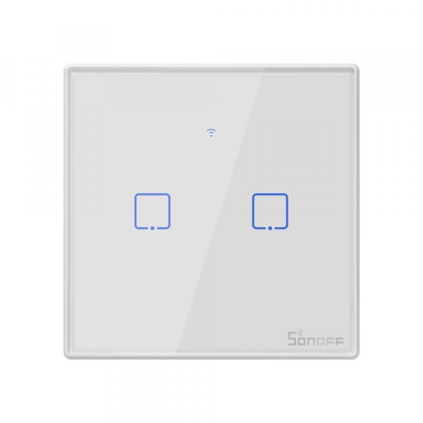 Intrerupator Smart  cu Touch WiFi + RF 433 Sonoff T2 EU TX, (2 canale) 0