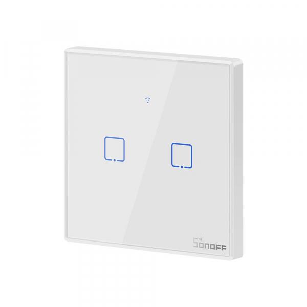 Intrerupator Smart  cu Touch WiFi + RF 433 Sonoff T2 EU TX, (2 canale) 1