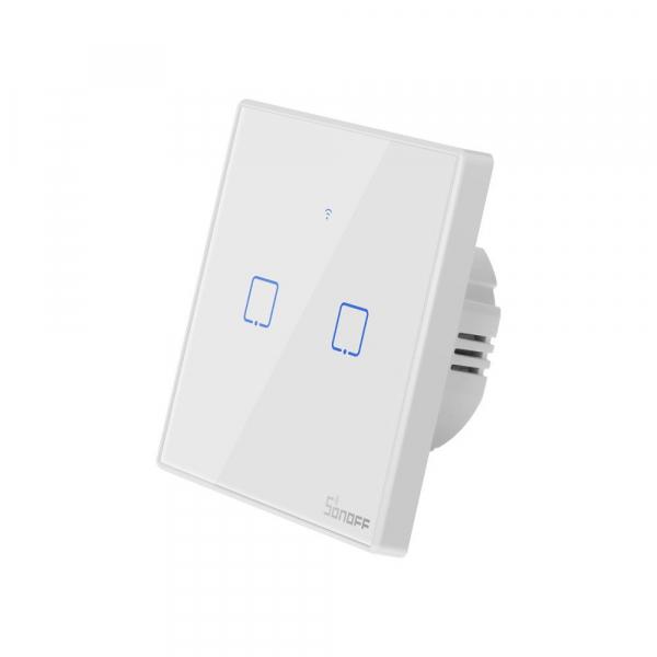 Intrerupator Smart  cu Touch WiFi + RF 433 Sonoff T2 EU TX, (2 canale) 2