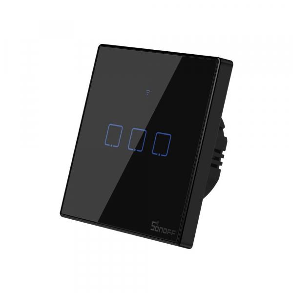 Intrerupator Smart  cu Touch WiFi + RF 433 Sonoff T3 EU TX, (3 canale) 1