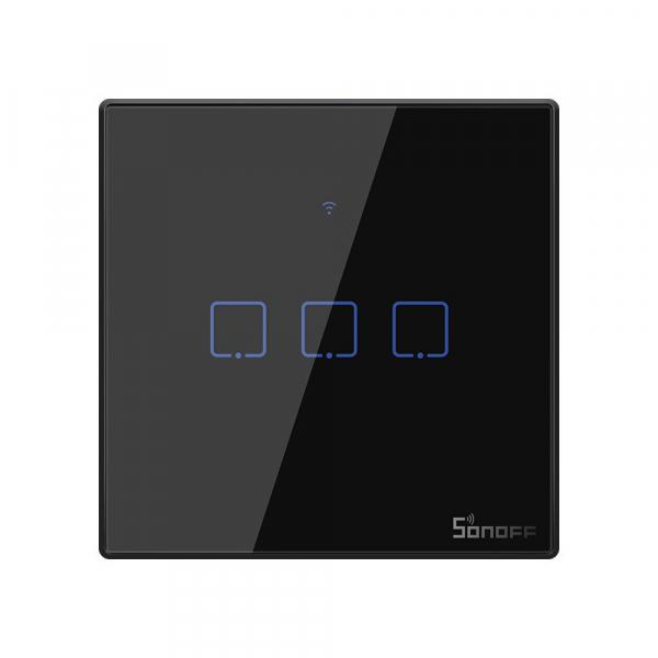 Intrerupator Smart  cu Touch WiFi + RF 433 Sonoff T3 EU TX, (3 canale) 0