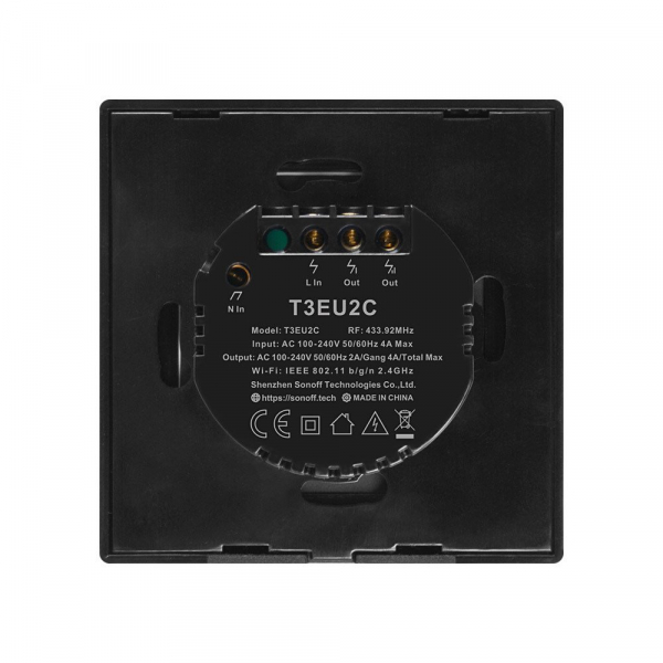 Intrerupator Smart  cu Touch WiFi + RF 433 Sonoff T3 EU TX, (2 canale) [2]