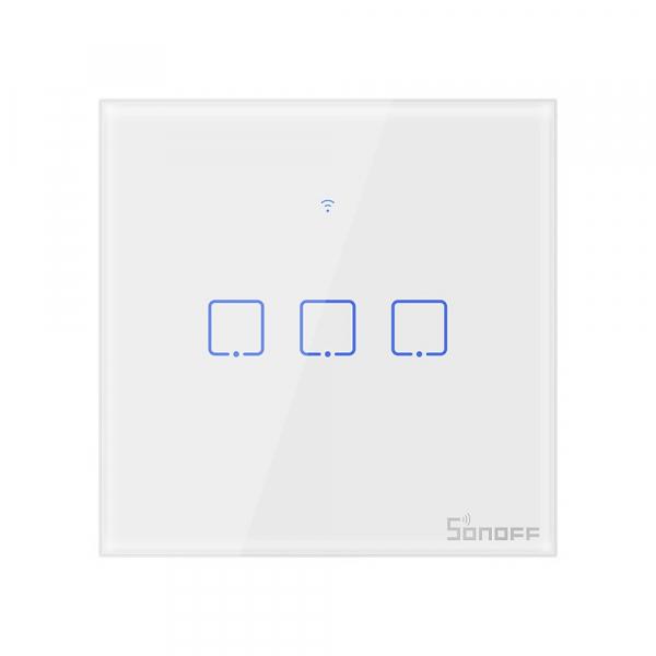 Intrerupator Smart  cu Touch  Sonoff T0 EU TX , WiFi, (3 canale) 0