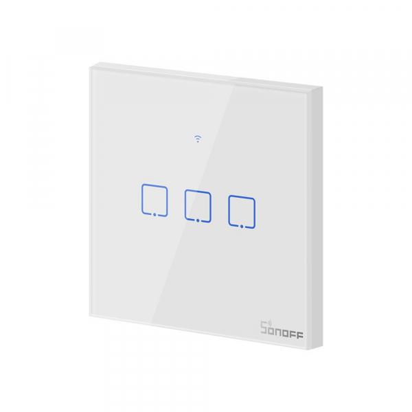 Intrerupator Smart  cu Touch  Sonoff T0 EU TX , WiFi, (3 canale) 4