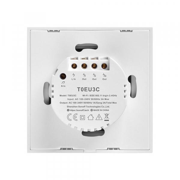 Intrerupator Smart  cu Touch  Sonoff T0 EU TX , WiFi, (3 canale) 1
