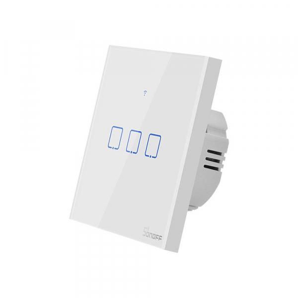 Intrerupator Smart  cu Touch  Sonoff T0 EU TX , WiFi, (3 canale) 3