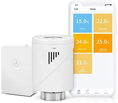 Kit Cap termostatic calorifer Meross MTS100H cu Hub, Smart, Alexa, Google Home, control smartphone 0