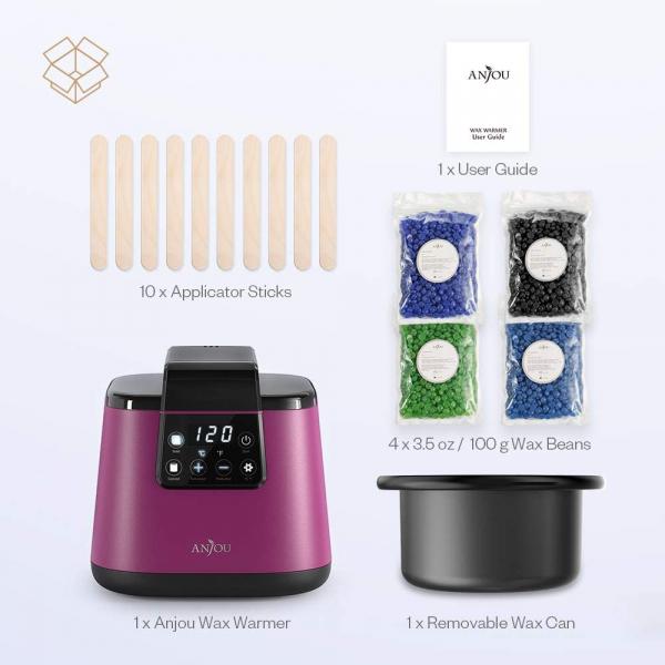 Kit Epilare Anjou PCA023 Incalzitor ceara profesional cu display LCD, 400g ceara, 4 arome, set spatule din lemn, control tactil [5]
