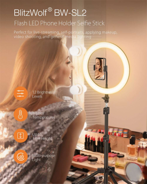 Lampa Circulara LED BlitzWolf BW-SL2 Make up Profesionala, Ring Light 120 Leduri cu Lumina Rece/Calda 2