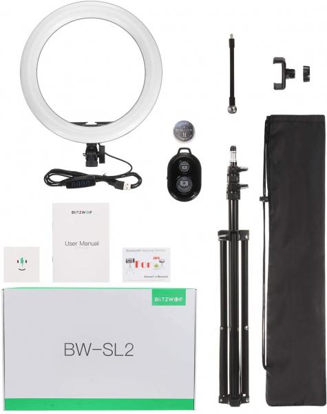 Lampa Circulara LED BlitzWolf BW-SL2 Make up Profesionala, Ring Light 120 Leduri cu Lumina Rece/Calda 12