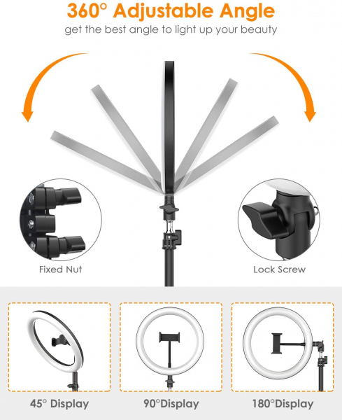Lampa Circulara LED BlitzWolf BW-SL2 Make up Profesionala, Ring Light 120 Leduri cu Lumina Rece/Calda 6