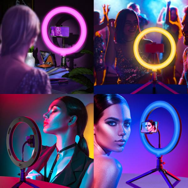 Lampa Circulara LED BlitzWolf BW-SL5 RGB Make up Profesionala, Ring Light 120 Leduri 10 culori de lumina, cu Trepied 17cm [2]