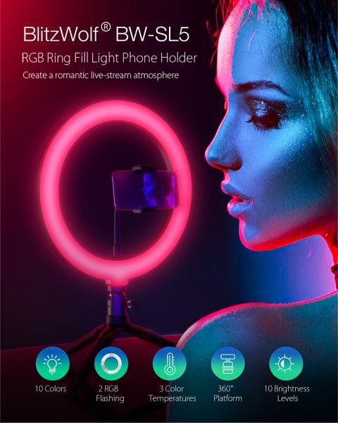 Lampa Circulara LED BlitzWolf BW-SL5 RGB Make up Profesionala, Ring Light 120 Leduri 10 culori de lumina, cu Trepied 17cm [4]
