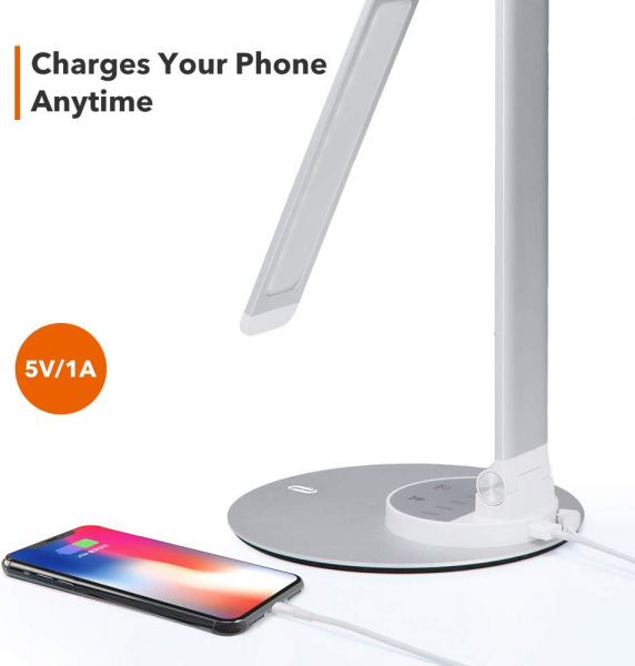 Lampa de birou cu LED TaoTronics TT-DL22, incarcare USB, 6 niveluri de luminozitate - Silver 2