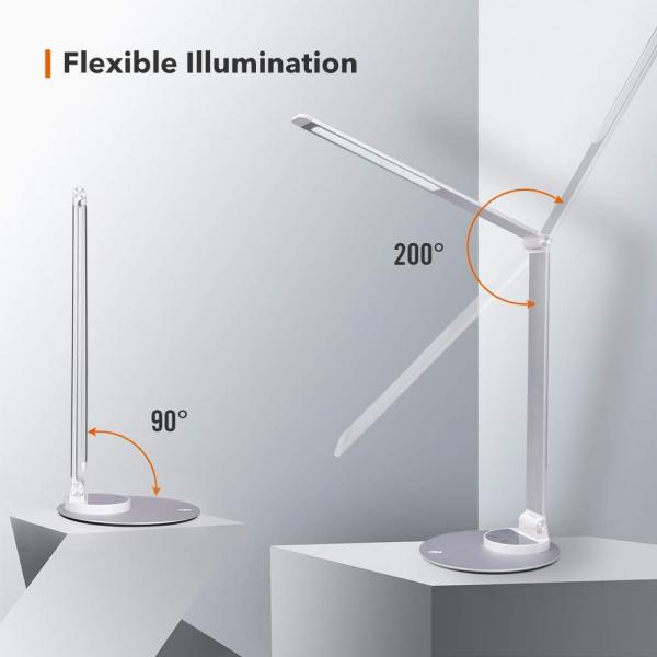 Lampa de birou cu LED TaoTronics TT-DL66, incarcare USB, 6 niveluri de luminozitate - Silver 3