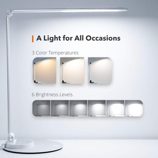 Lampa de birou cu LED TaoTronics TT-DL66, incarcare USB, 6 niveluri de luminozitate - Silver 7