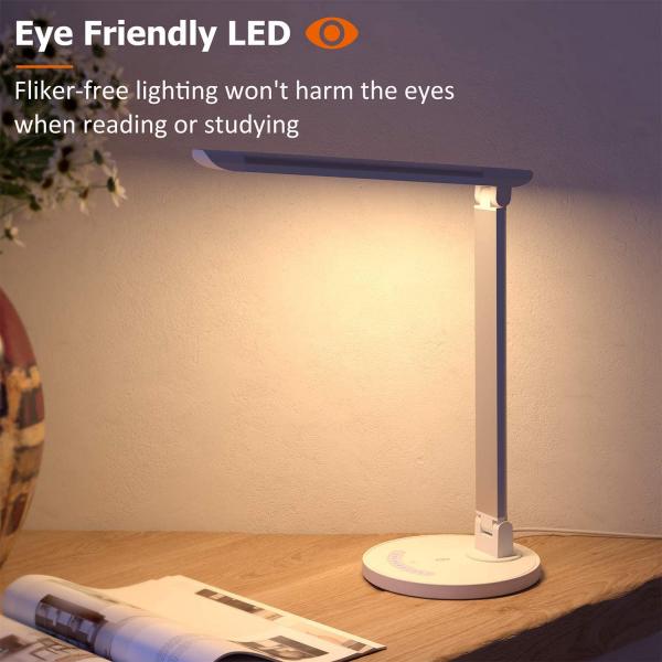 Lampa de birou LED TaoTronics TT DL13 control Touch, 5 moduri, Protectie Ochi - Silver - White 3