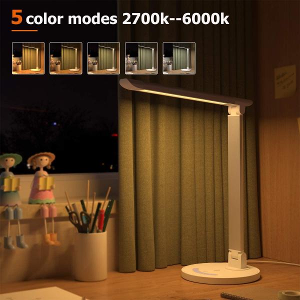 Lampa de birou LED TaoTronics TT DL13 control Touch, 5 moduri, Protectie Ochi - Silver - White 4