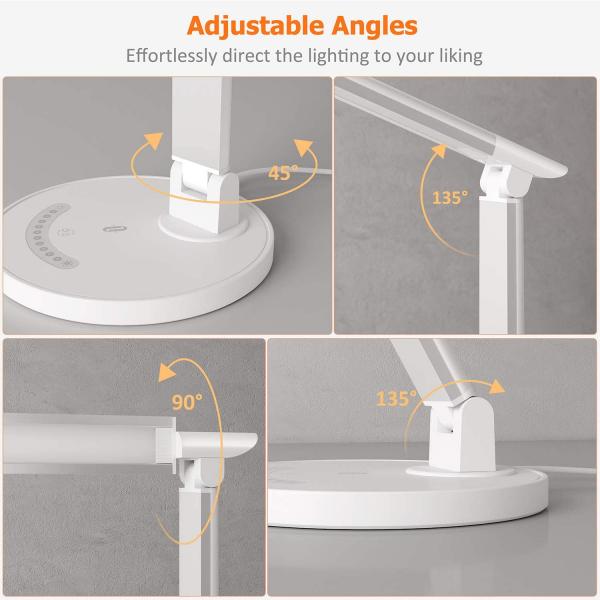 Lampa de birou LED TaoTronics TT DL13 control Touch, 5 moduri, Protectie Ochi - Silver - White 5