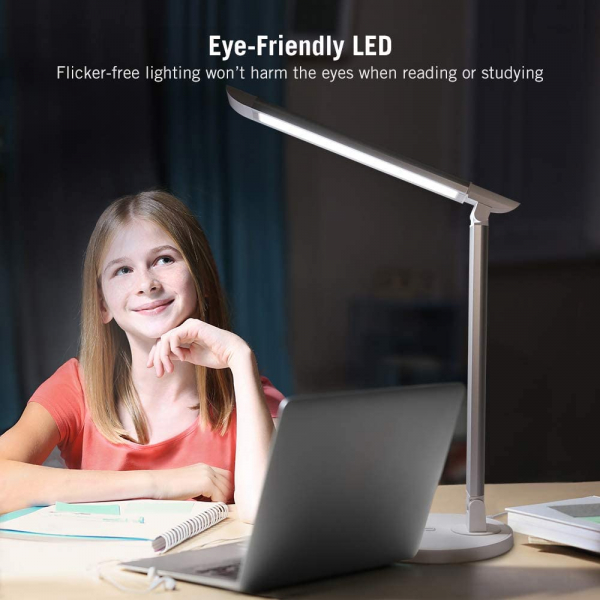Lampa de birou LED TaoTronics TT DL13 control Touch, 5 moduri, Protectie Ochi - Silver - White 1