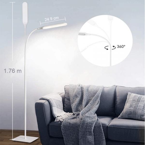 Lampa de podea LED TaoTronics TT-DL072, ajustabile 4 culori de culoare, 4 niveluri de luminozitate - Alba 2