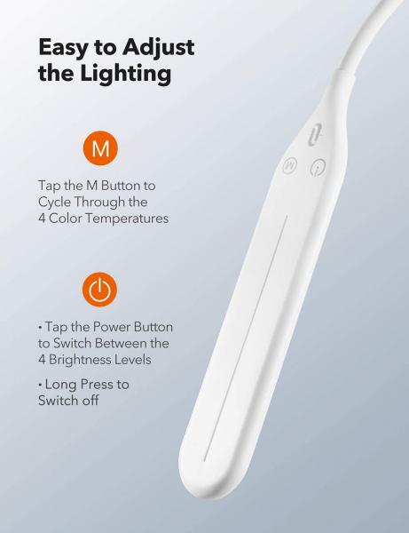 Lampa de podea LED TaoTronics TT-DL072, ajustabile 4 culori de culoare, 4 niveluri de luminozitate - Alba 3