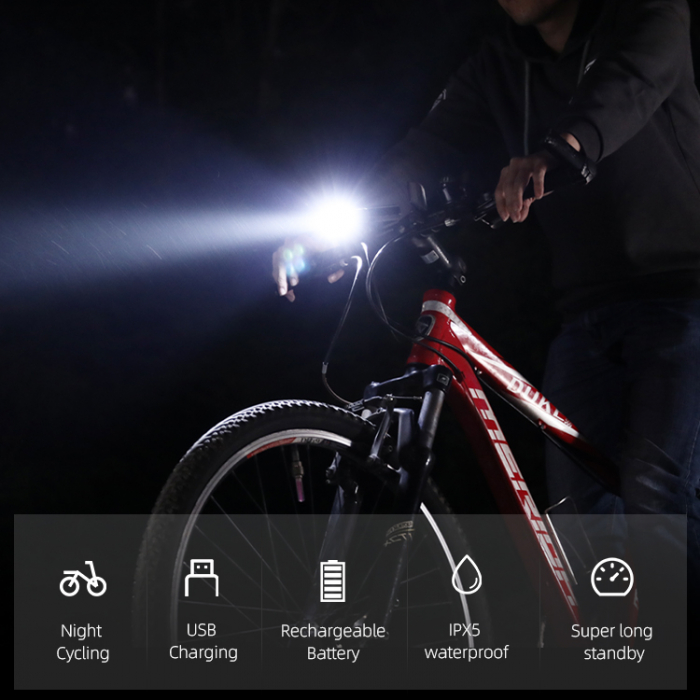 Lanterna LED pentru bicicleta Supfire GT-R3, 1400lumeni, 130m, acumulator 2400 mAh, USB [7]