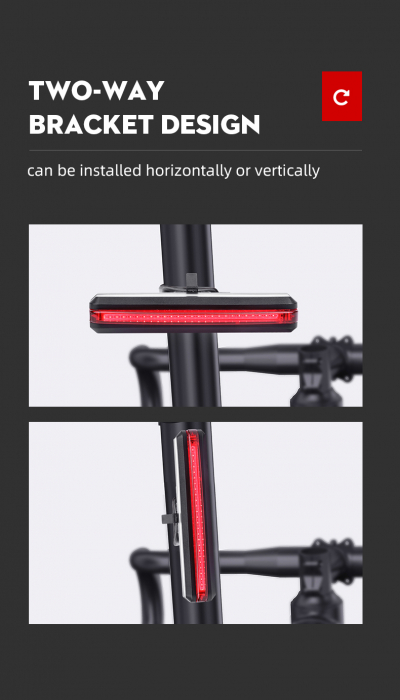 Stop LED pentru bicicleta Supfire BL07, reincarcabil USB, 6 moduri luminare [8]