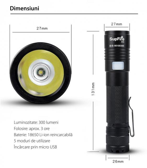 Lanterna LED Supfire A5, 300lm, 200M incarcare USB, Negru [2]